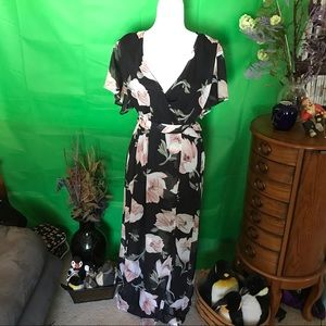 Beautiful Black Maxi Dress with large pink roses